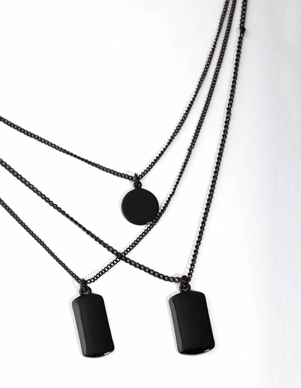 Matte Short Tab and Disc 3-Row Necklace