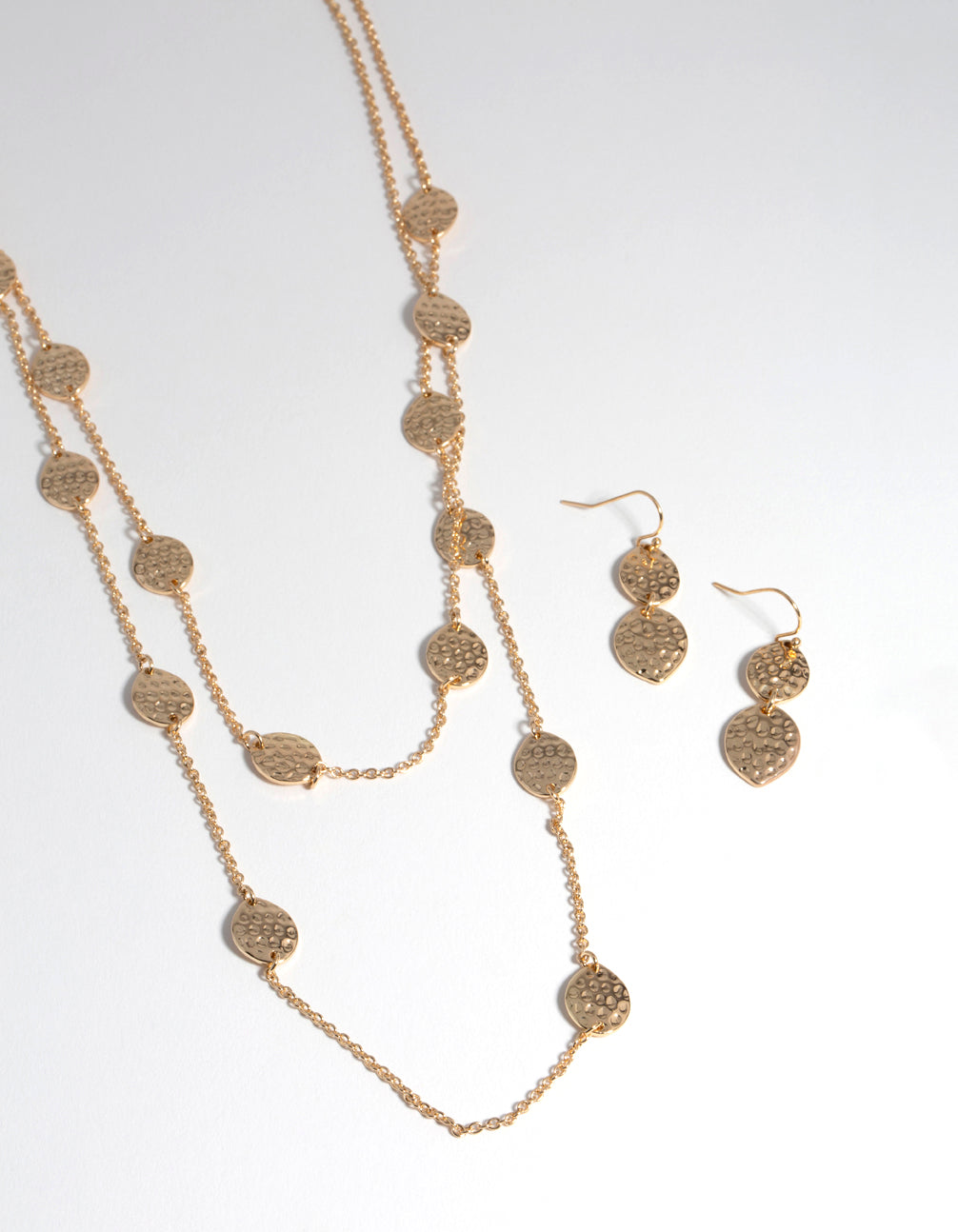 Gold Mid-Textured Layered Earrings and Necklace