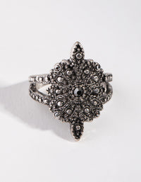 Black Gunmetal Floral Cluster Ring - link has visual effect only