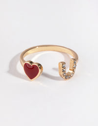 Gold Heart & U Ring - link has visual effect only