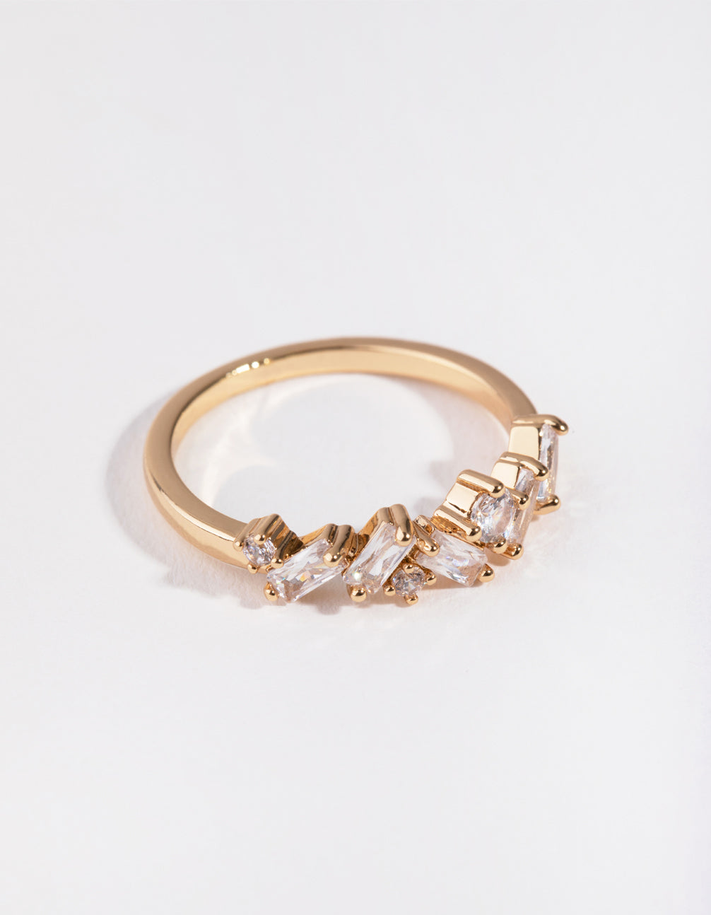 Cubic Zirconia Gold Cluster Row Ring