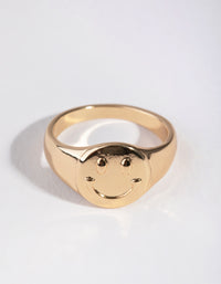 Gold Circle Signet Ring - link has visual effect only