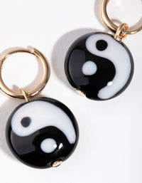 Gold Resin Yin and Yang Hoop Earrings - link has visual effect only