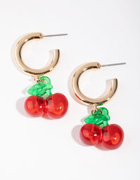 Gold Acrylic Cherry Hoop Earrings - link has visual effect only