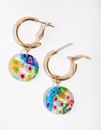 Gold Flower Pattern Drop Earrings - link has visual effect only