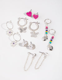Silver Enamel Heart 6-Pack Earring - link has visual effect only