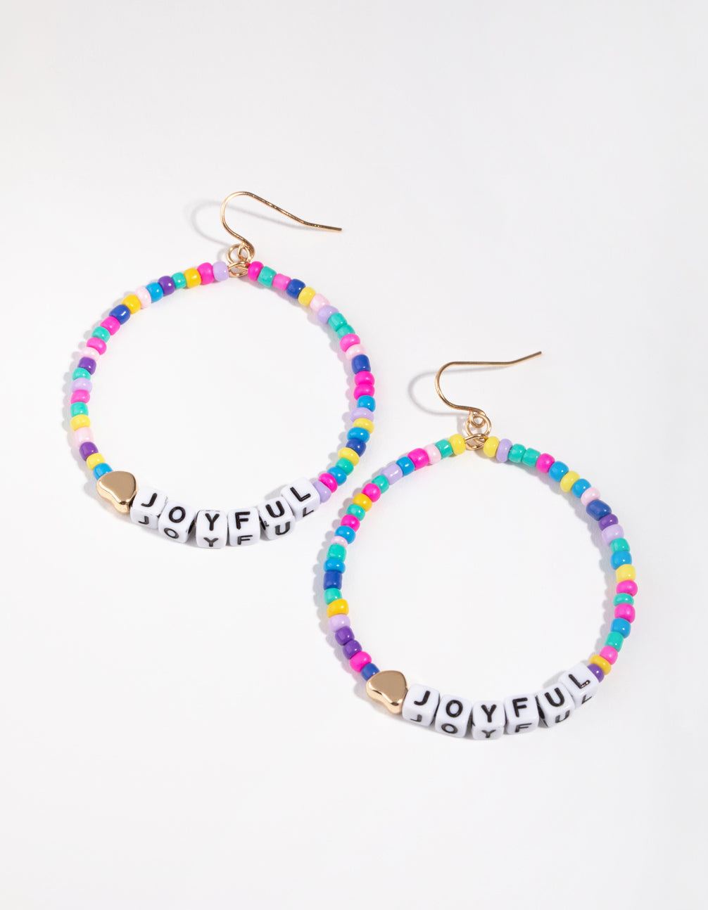 Plastic Beaded Circle Drop Earrings