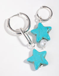 Silver Asymmetrical Turquoise Star Drop Earrings - link has visual effect only