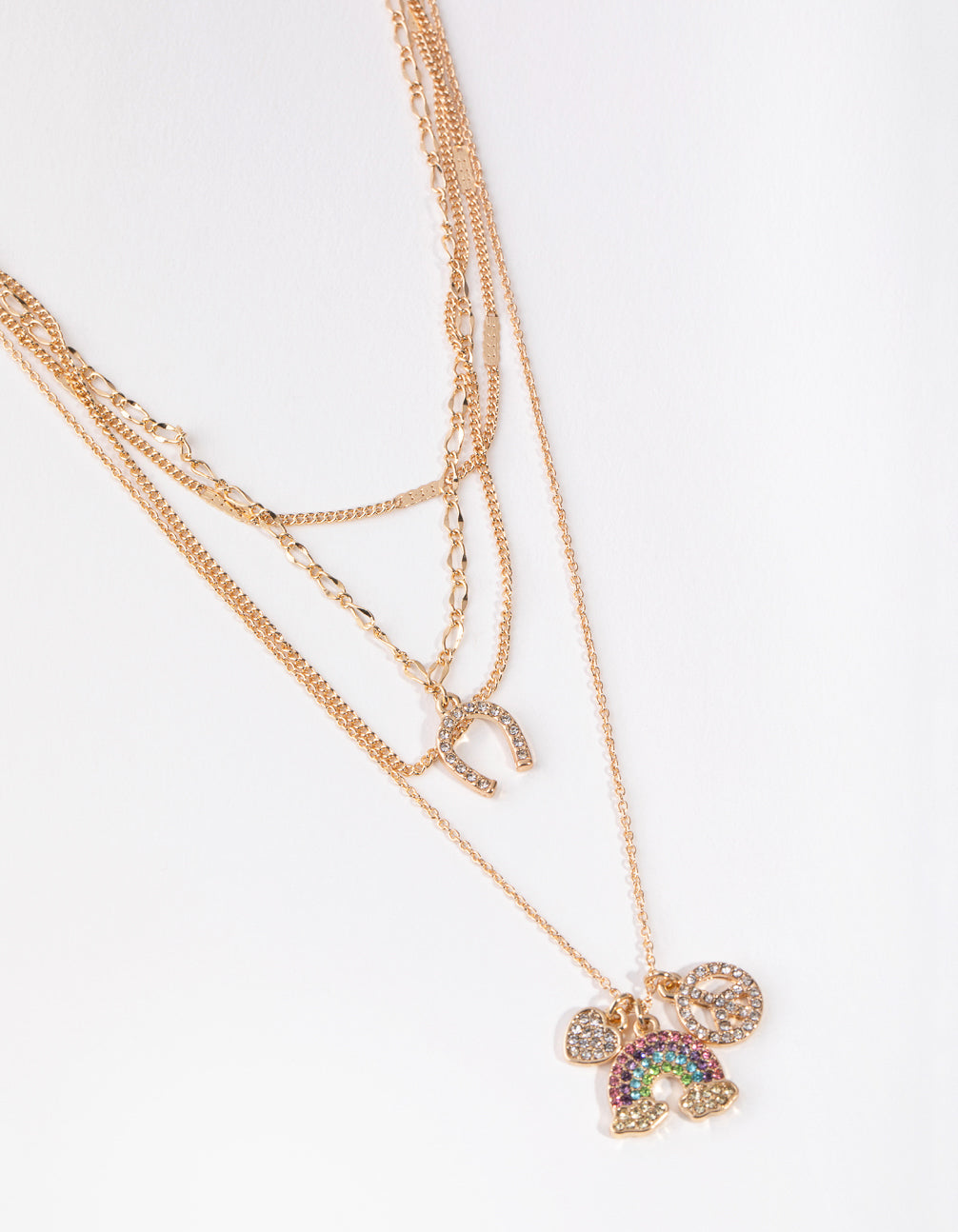Gold Rainbow Charm Four-Pack Necklace