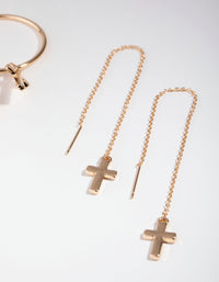 Gold Basic Cross 2-Pack Earrings - link has visual effect only