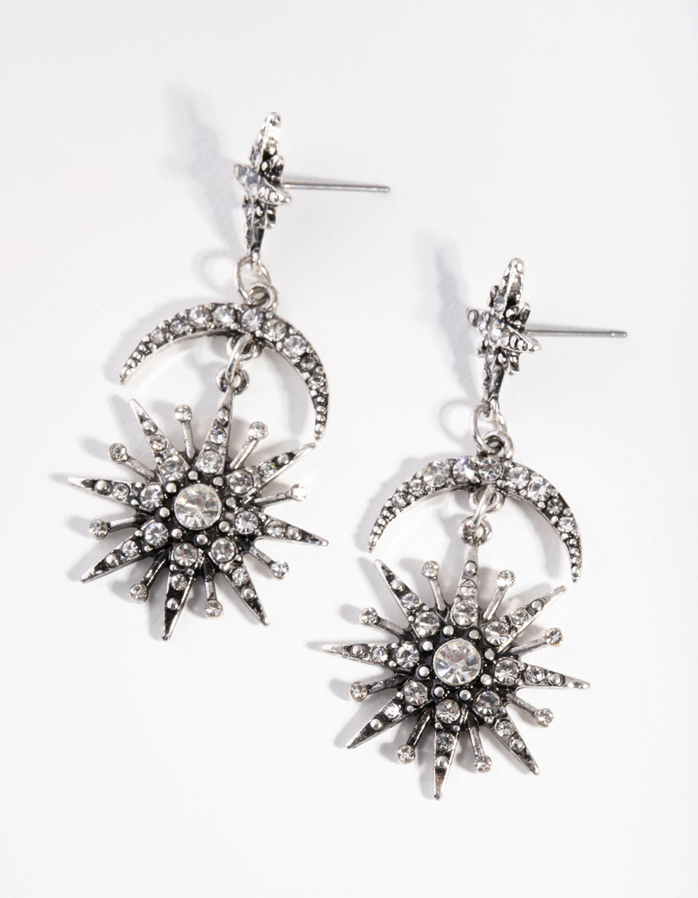 Antique Silver Bedazzled Star Drop Earrings