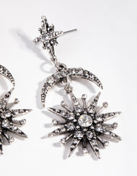 Antique Silver Bedazzled Star Drop Earrings - link has visual effect only