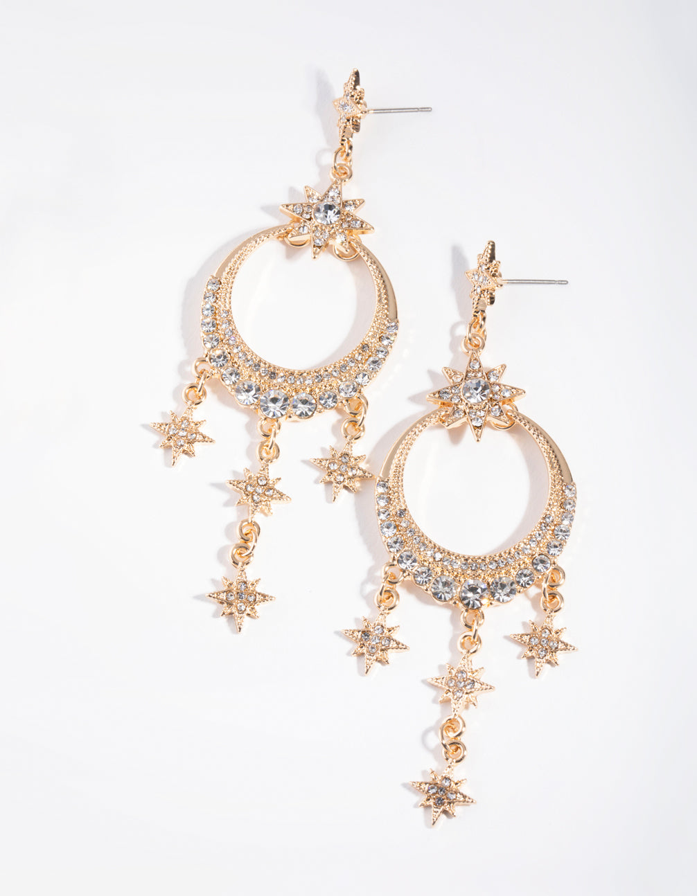 Gold Statement Diamante Drop Earrings