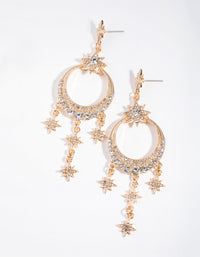 Gold Statement Diamante Drop Earrings - link has visual effect only