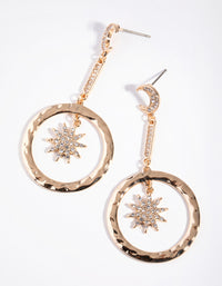 Fashion Gold Star in Disc Drop Earrings - link has visual effect only