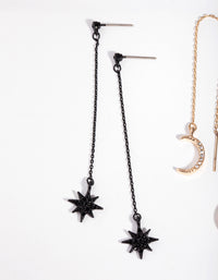 Matte Diamante Star and Moon 2-Pack Earrings - link has visual effect only