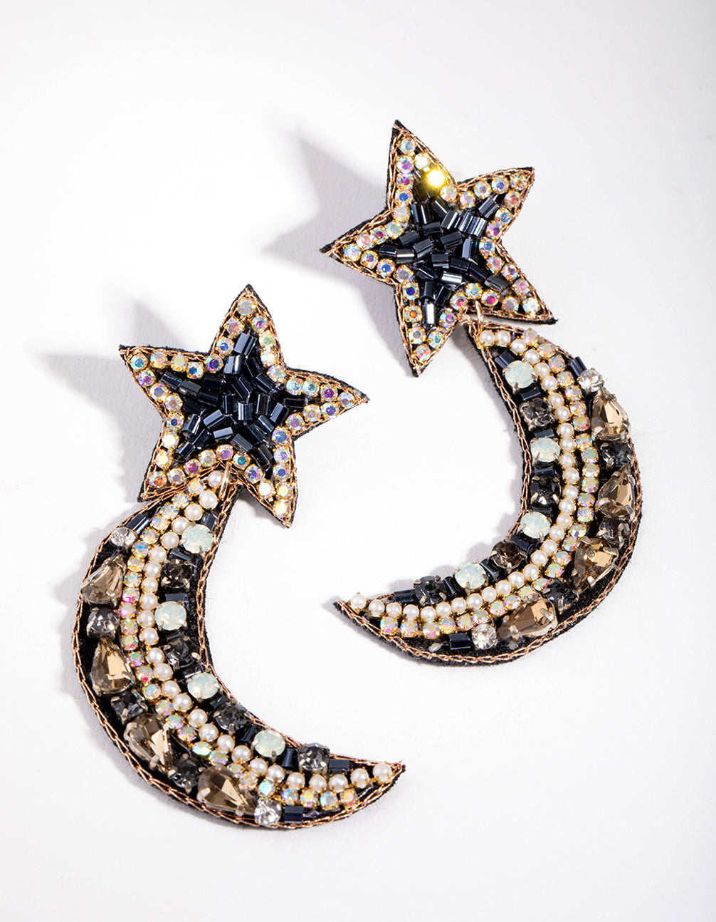 Plastic Mixed Bead Star Stud Earrings
