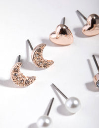 Rose Gold Star & Moon 5-Pack Stud Earrings - link has visual effect only