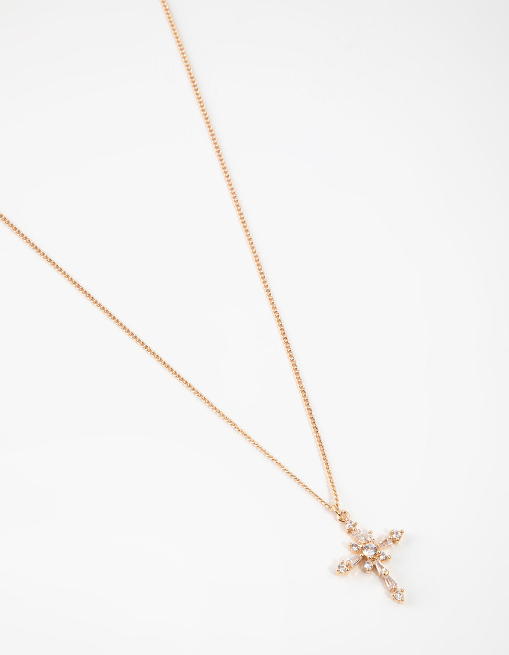 Gold Decorated Cubic Zirconia Cross Pendant Necklace