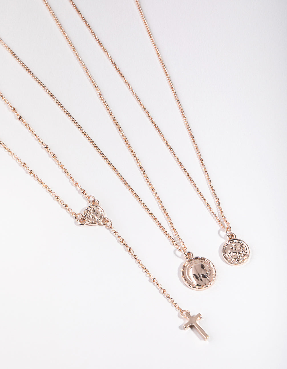 Rose Gold Rosary Three-Row Necklace