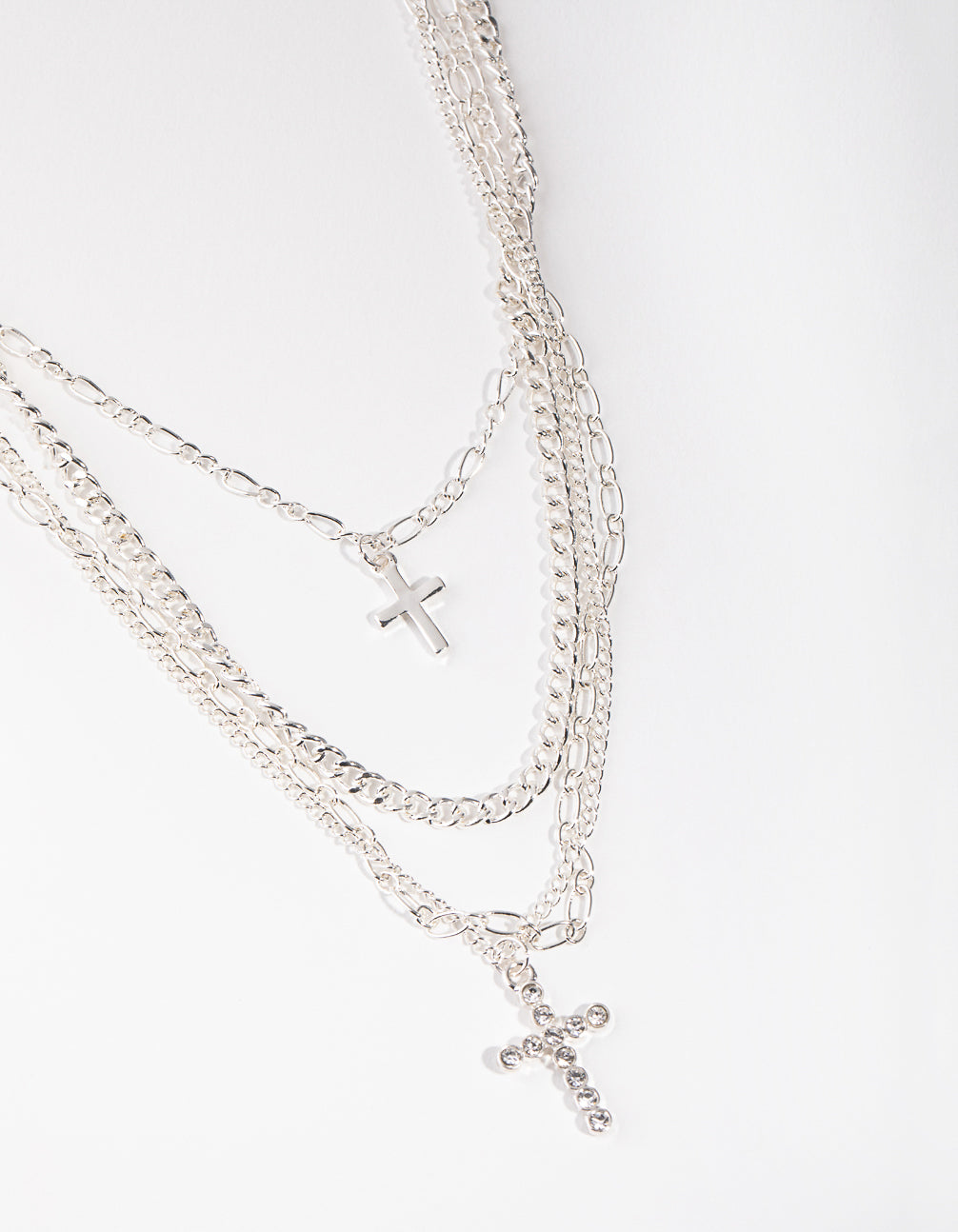 Silver Mix Chain Cross 4-row Necklace