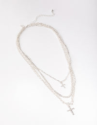 Silver Mix Chain Cross 4-row Necklace - link has visual effect only