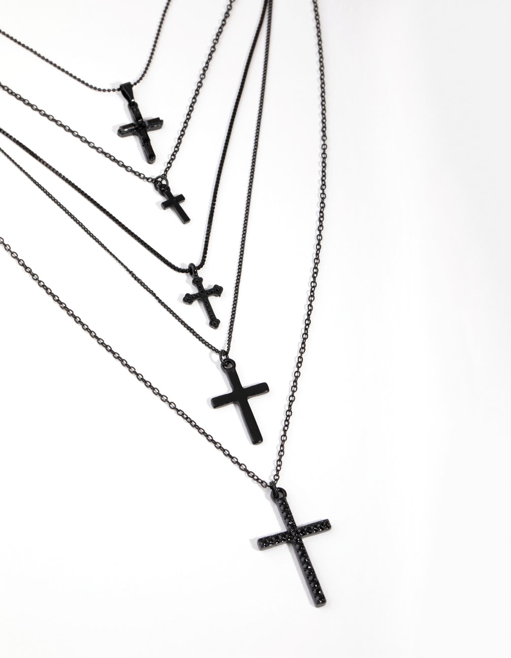 Matte Multi Cross 5-Row Necklace