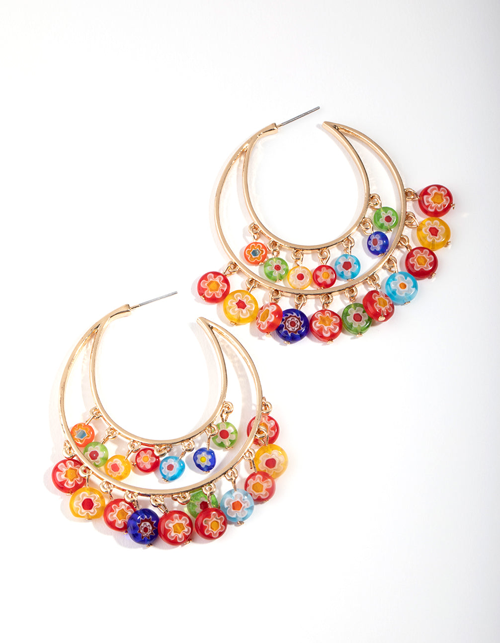Gold Double Loop Printed Bead Earrings