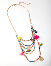 Gold Bead and Coin Long Necklace - link has visual effect only