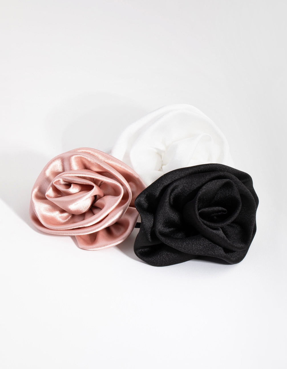 Fabric Rose 3-Pack Hair Ties