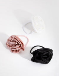 Fabric Rose 3-Pack Hair Ties - link has visual effect only