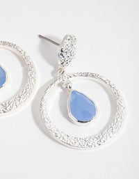 Silver Blue Mix Bead Drop Earrings - link has visual effect only
