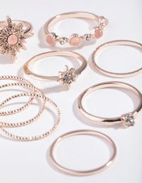 Semi Precious Rose-Gold Cluster Star Nine-Pack Rings - link has visual effect only