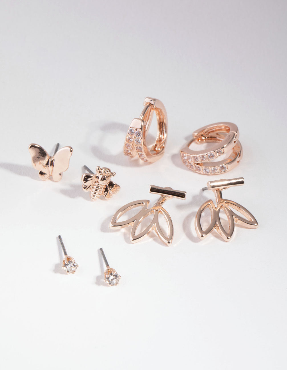 Rose Gold Floral Jacket 6-Pack Earrings