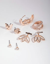 Rose Gold Floral Jacket 6-Pack Earrings - link has visual effect only