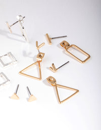 Mixed Metals Geo Shape 8-Pack Earrings - link has visual effect only