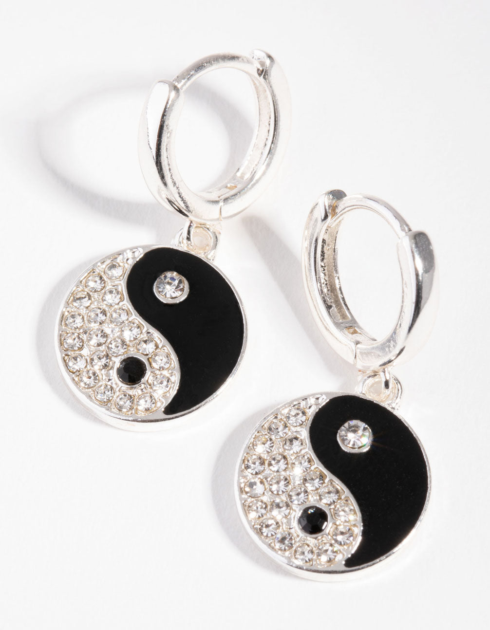 Silver Diamante Yin and Yang Huggie Earrings