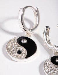 Silver Diamante Yin and Yang Huggie Earrings - link has visual effect only