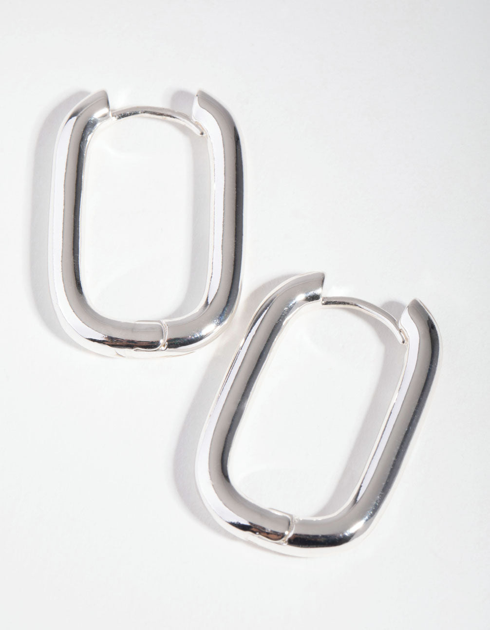 Silver Rounded Square Huggie Earrings