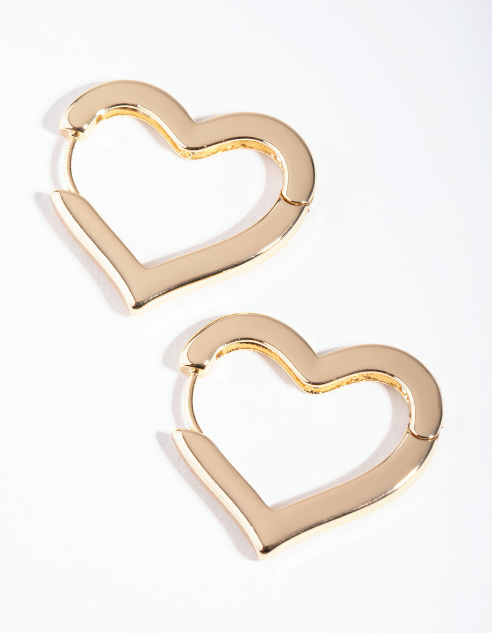 Gold Large Heart Huggie Earrings
