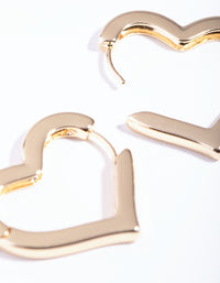 Gold Large Heart Huggie Earrings - link has visual effect only