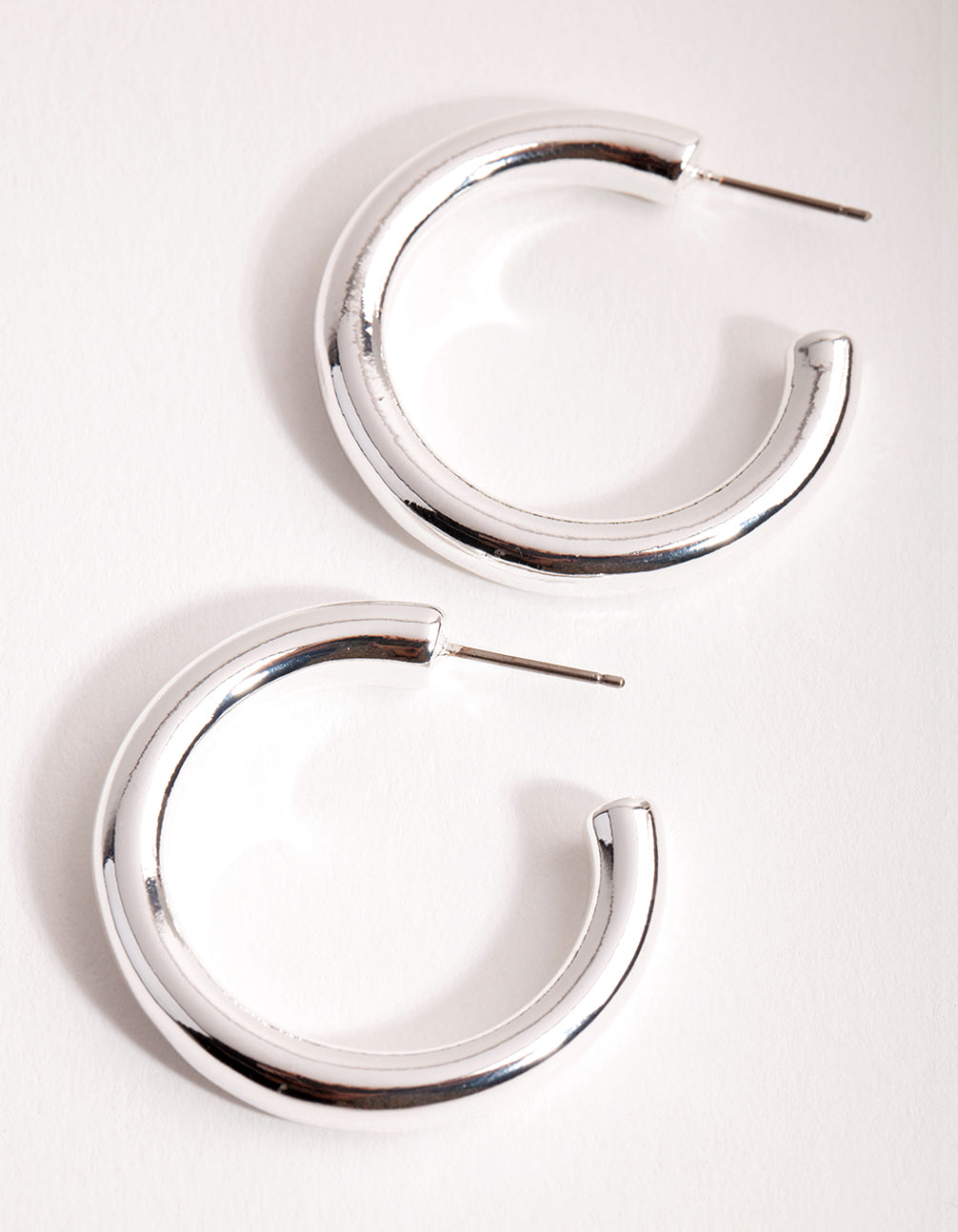 Silver Large Open Hoop Earrings