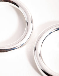 Silver Large Open Hoop Earrings - link has visual effect only