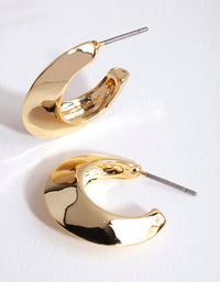 Gold Small Chubby Open Hoop Earrings - link has visual effect only
