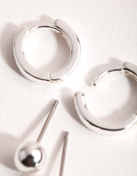 Silver Simple Stud and Huggie 2-Pack Earrings - link has visual effect only