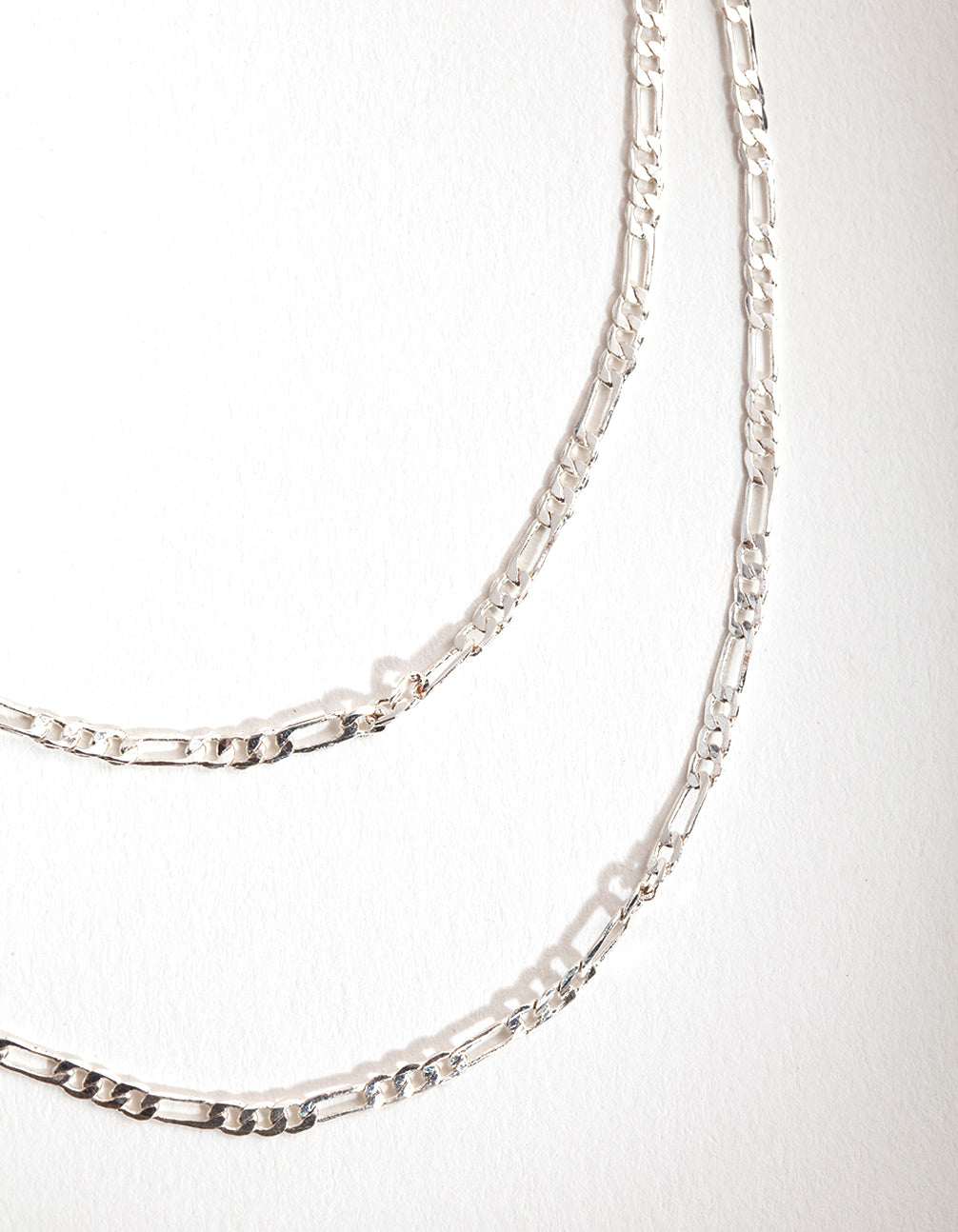 Silver 2-Row Figaro Necklace