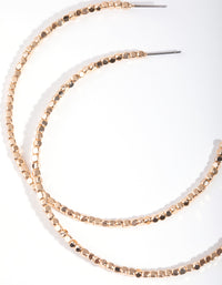 Real Gold Plated Bead Hoop Earrings - link has visual effect only