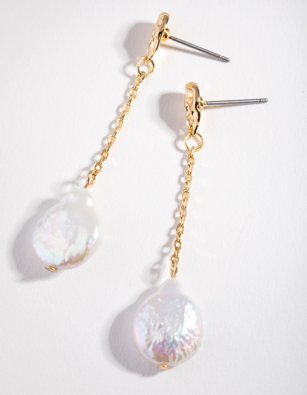 Real Gold Plated Chain & Freshwater Pearl Drop Earrings