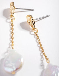 Real Gold Plated Chain & Freshwater Pearl Drop Earrings - link has visual effect only