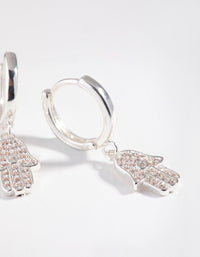 Real Silver Plated Diamante Hamsa Huggie Earrings - link has visual effect only